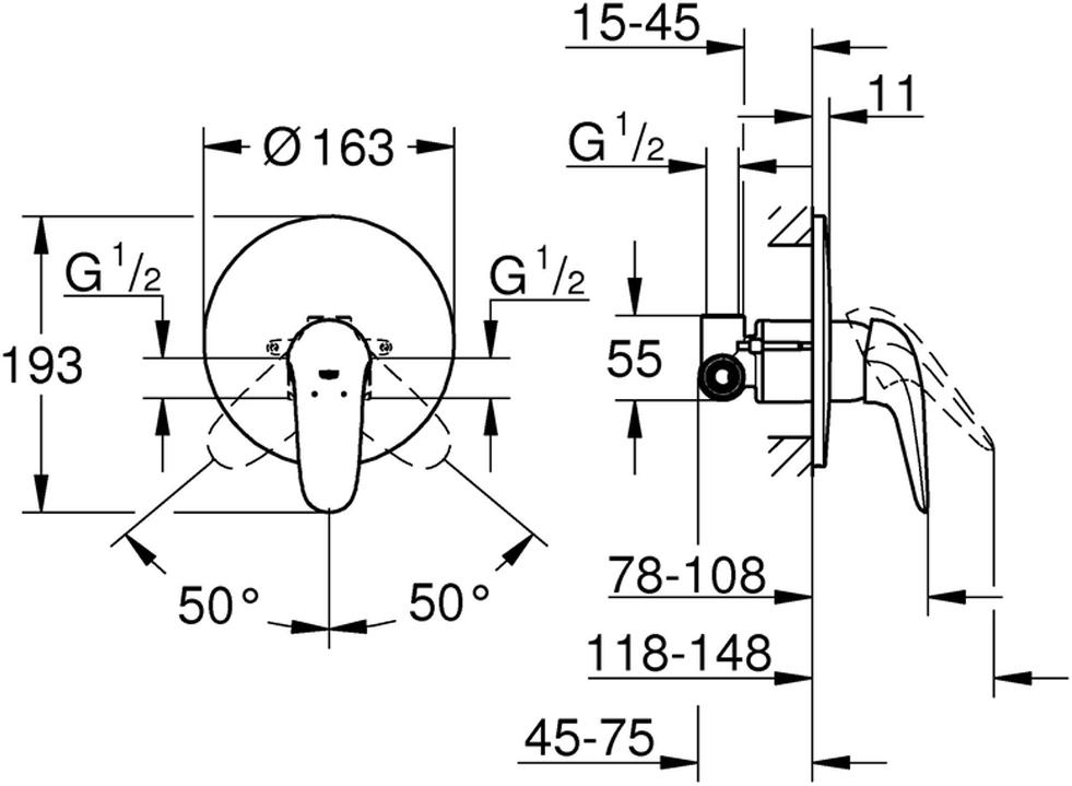 """Смеситель для душа """"Eurostyle"""". Подходит  для скрытого монтажа.Смеситель включает в себя: комплект верхней монтажной части со встраиваемым механизмом; металлический рычаг (без отверстия); керамический картридж диаметром 46 мм. У смесителя регулировка расхода воды, хромированная поверхность, отражатель из металла, уплотнитель розетки и рычага, быстрый монтаж, дополнительный ограничитель температуры."""
