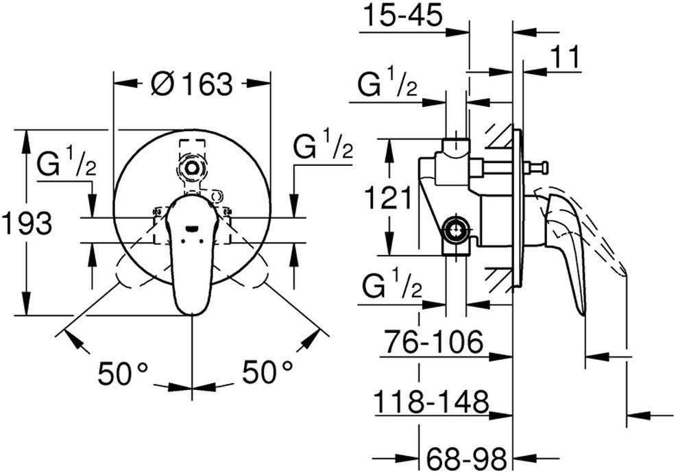 """Смеситель для ванны """"Eurostyle"""" со встраиваемым механизмом. Подходит для скрытого монтажа. Керамический картридж диаметром 46 мм. Хромированная поверхность. Быстрый монтаж. Включает в себя: комплект верхней монтажной части со встраиваемым механизмом; регулировка расхода воды; автоматический переключатель: ванна/душ; металлический рычаг (без отверстия); дополнительный ограничитель температуры; отражатели из металла."""