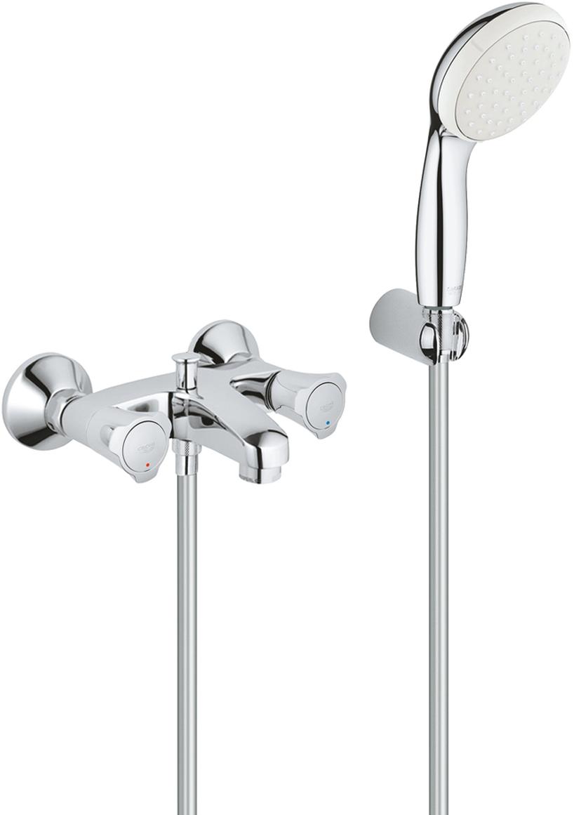 """Смеситель Grohe Costa L  для ванны с душем крепится на стену, имеет металлические рукоятки, автоматический переключатель: ванна/душ,  оснащен теплоизоляцией.Смеситель Grohe Costa L включает в себя:- ручной душ New Tempesta 100, один вид струи, 9,5 l/мин (27 923) - настенный держатель ручного душа (28 605)- душевой шланг Relexaflex 1500 мм 1/2"""" x 1/2"""" (28 151)- GROHE StarLight хромированная поверхность"""