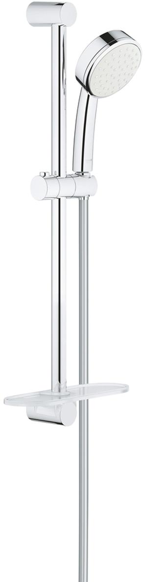 """Душевой гарнитур включает в себя: ручной душ; душевая штанга 600 мм; душевой шланг Relexaflex 1750 мм 1/2"""" x 1/2""""; полочка. У душа превосходный поток воды. Хромированная поверхность. Система SpeedClean против известковых отложений. Внутренний охлаждающий канал для продолжительного срока службы. Может использоваться с проточным водонагревателем. Минимальное давление 1,0 бар."""