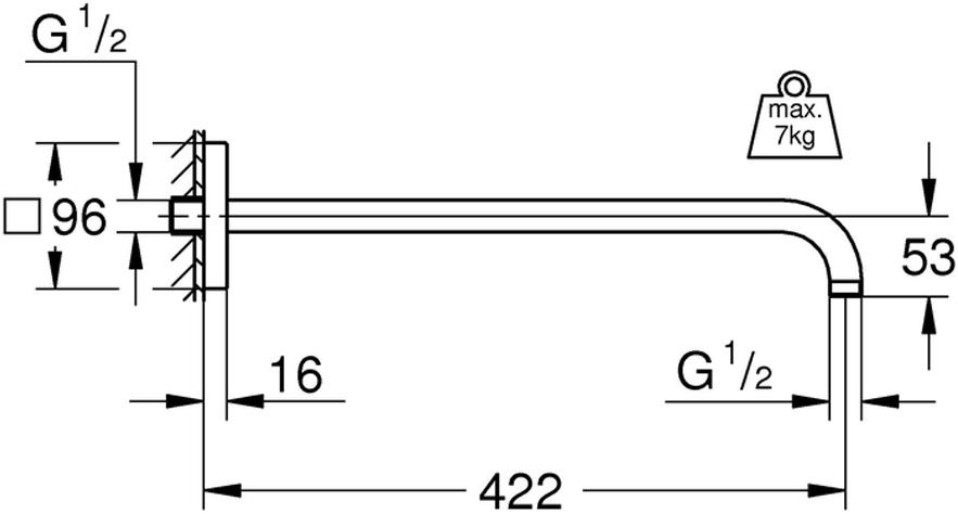 """Кронштейн душевой GROHE """"Rainshower"""" из металла. Резьбовое соединение 1/2"""". С квадратной розеткой. Для использования со всеми верхними душами Rainshower. Хромированная поверхность."""