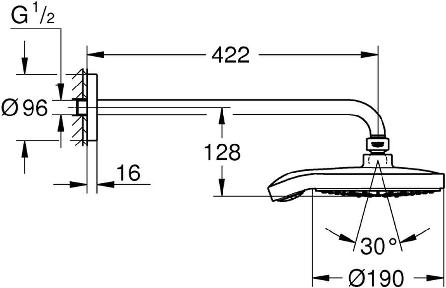 Комплект включает в себя: верхний душ с серой душевой поверхностью, душевой кронштейн 422 мм, хромированную розетку.У душа ограничитель расхода воды 9,5 л/мин,  превосходный поток воды. Изготовлен из металлического сплава с хромированной поверхностью. Система SpeedClean против известковых отложений.Может использоваться с проточным водонагревателем.Нормальная струя при давление от 0,5 бар.
