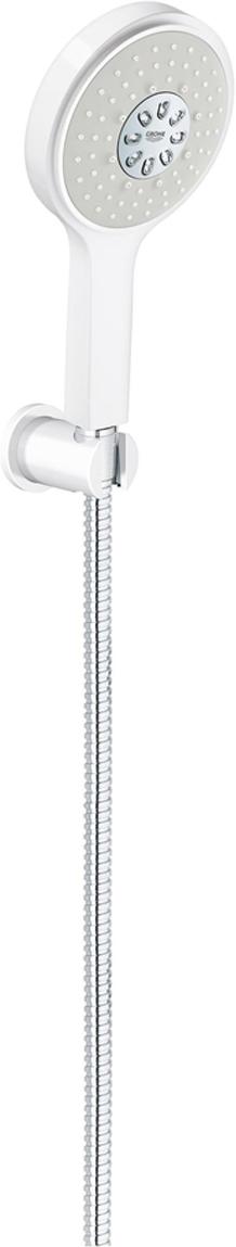 Душевой набор GROHE Power&Soul Cosmopolitan. 26174LS026174LS0Душевой набор состоит из: ручной душ Power&Soul Cosmopolitan 130; настенный держатель душа; металлический душевой шланг 1500 мм. У душевого набора превосходный поток воды. Хромированная поверхность с системой SpeedClean против известковых отложений. Внутренний охлаждающий канал для продолжительного срока службы. Может использоваться с проточным водонагревателем. Минимальное давление 1,0 бар.