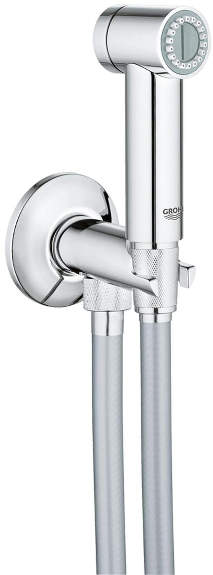 включает в себя:ручной душ с клавишей управления (26 328)нажимной запорный вентиль, встроенный в держатель для душаSilverflex Longlife Душевой шланг 1250 мм (26335000)GROHE StarLight хромированная поверхностьс системой SpeedClean против известковых отложенийTwistfree против перекручивания шлангаустановка при давлении от 0,5 барПожалуйста, перед установкой сравните ее с местными нормами