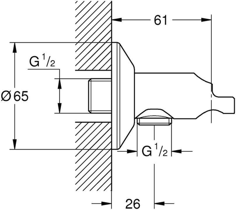 """Автоматический клапан с держателем гигиенического душа. У клапана резьбовое соединение 1/2"""".Держатель изготовлен из металлического сплава с хромированной поверхностью."""