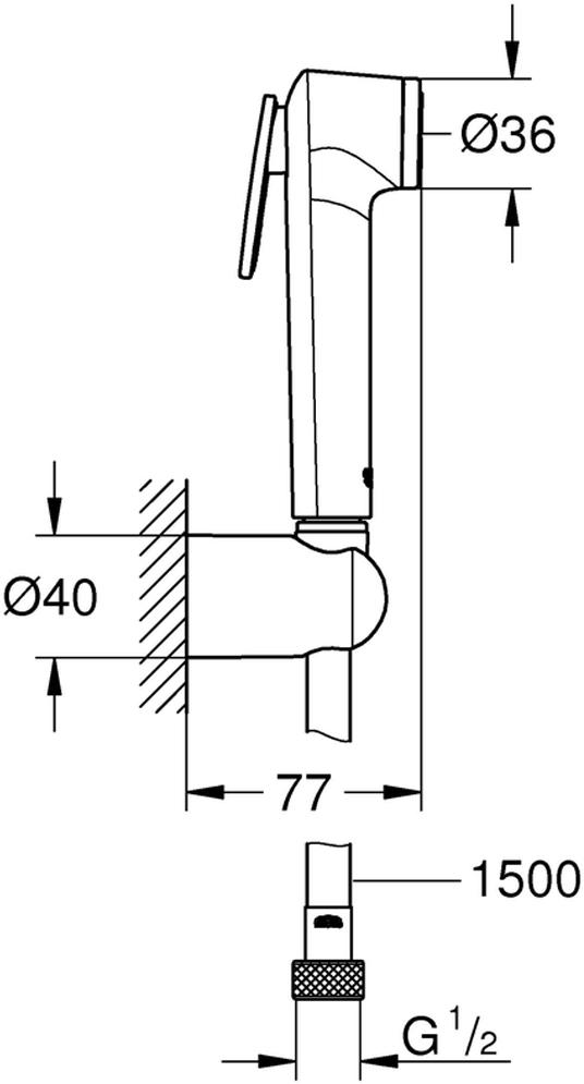Душевой включает в себя: ручной душ с клавишей управления; настенный держатель ручного душа; Silverflex Longlife душевой шланг 1500 мм. Хромированная поверхность с системой SpeedClean против известковых отложений. Внутренний охлаждающий канал для продолжительного срока службы. Twistfree против перекручивания шланга. Минимальное давление 1,0 бар.