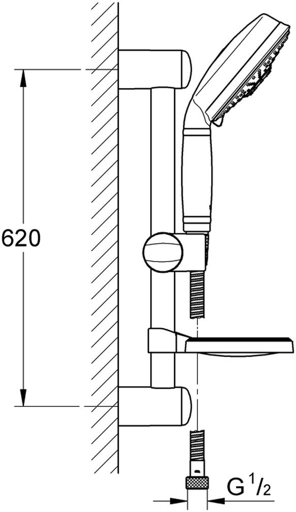 """Душевой гарнитур включает в себя: ручной душ Rainshower Rustic 130 мм; душевая штанга 600 мм; душевой шланг 1750 мм 1/2"""" x 1/2""""; мыльница. Хромированная поверхность с системой SpeedClean против известковых отложений. Внутренний охлаждающий канал для продолжительного срока службы.Twistfree против перекручивания шланга. Минимальное давление 1,0 бар."""