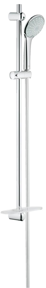 Душевой гарнитур GROHE Euphoria, с полочкой. 2722500127225001Душевой гарнитур включает в себя: ручной душ Duo; душевая штанга 900 мм; душевой шланг 1750 мм; полочка. У душа превосходный поток воды. Хромированная поверхность. Регулируемое расстояние между настенными креплениями штанги позволяет использовать для монтажа уже имеющиеся отверстия в стене. Система SpeedClean против известковых отложений. Внутренний охлаждающий канал для продолжительного срока службы.Twistfree против перекручивания шланга. Может использоваться с проточным водонагревателем. Минимальное давление 1,0 бар.