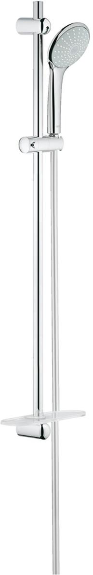 включает в себя:ручной душ Mono (27 265)душевая штанга 900 мм (27 500 000)душевой шланг 1750 мм (28 388 000)Полочка GROHE EasyReach (27 596)GROHE DreamSpray превосходный поток водыGROHE StarLight хромированная поверхностьGROHE QuickFix (регулируемое расстояние между настенными креплениями штанги позволяет использовать для монтажа уже имеющиеся отверстия в стене)с системой SpeedClean против известковых отложенийВнутренний охлаждающий канал для продолжительного срока службыTwistfree против перекручивания шланга