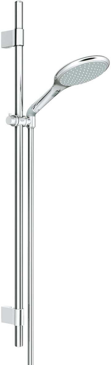 Душевой гарнитур GROHE Rainshower Solo. 2727300127273001Душевой гарнитур включает в себя: ручной душ Solo; душевая штанга 900 мм с металлическими настенными креплениями; душевой шланг 1750 мм; угловой переходник для комбинации ручных душей с душевыми гарнитурами. У душа превосходный поток воды. Хромированная поверхность. Регулируемое расстояние между настенными креплениями штанги позволяет использовать для монтажа уже имеющиеся отверстия в стене.Система SpeedClean против известковых отложений. Внутренний охлаждающий канал для продолжительного срока службы. Twistfree против перекручивания шланга. Может использоваться с проточным водонагревателем.