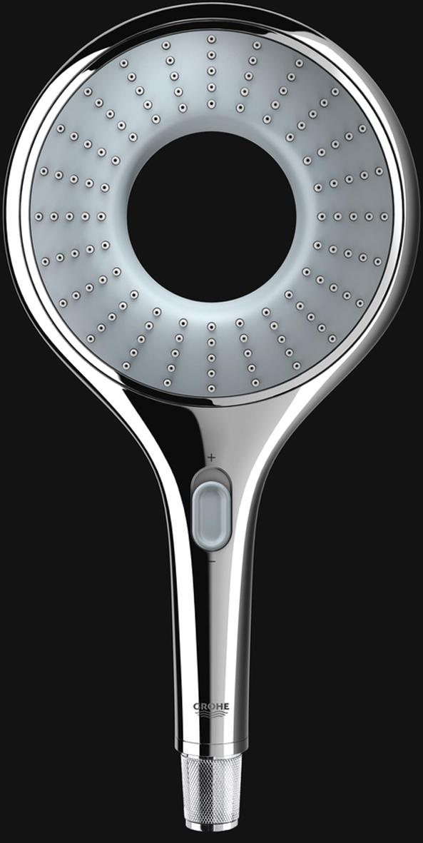Душ ручной с эко функцией - ограничение расхода воды.  Применена технология совершенного потока при уменьшенном расходе воды.  Есть металлический угловой адаптер для комбинации ручного душа и душевого шланга.  У душа  превосходный поток воды. Хромированная поверхность с системой SpeedClean против известковых отложений. Внутренний охлаждающий канал для продолжительного срока службы.  Универсальное крепление, подходящее к любому стандартному шлангу.  Может использоваться с проточным водонагревателем.