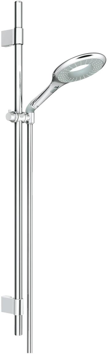 Душевой гарнитур включает в себя: Ручной душ Icon; душевая штанга 900 мм с металлическими настенными креплениями; душевой шланг 1750 мм; угловой переходник для комбинации ручных душей с душевыми гарнитурами. У душа превосходный поток воды. Хромированная поверхность. Регулируемое расстояние между настенными креплениями штанги позволяет использовать для монтажа уже имеющиеся отверстия в стене. Система SpeedClean против известковых отложений. Внутренний охлаждающий канал для продолжительного срока службы.  Twistfree против перекручивания шланга. Может использоваться с проточным водонагревателем.