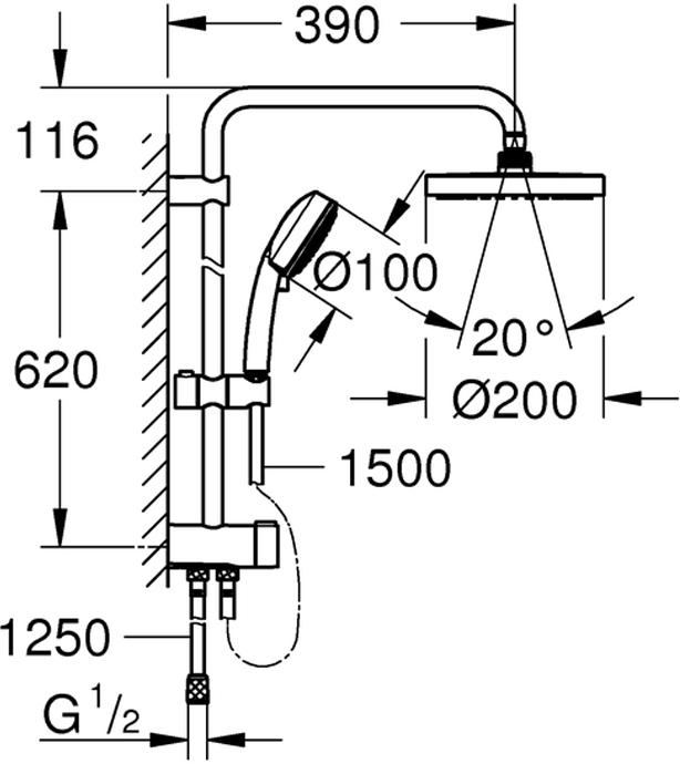 """Душевая система включает в себя: горизонтальный душевой кронштейн 390 мм, регулируется перед установкой; переключатель на 3 положения: верхний душ, ручной душ, верхний душ с Eco-режимом; верхний душ New Tempesta Cosmopolitan 200  - 2 режима струи (с помощью переключателя) с шаровым шарниром, угол поворота ± 15°; ручной душ New Tempesta Cosmopolitan 100  - 4 вида струй, регулируется по высоте с помощью скользящего элемента, расстояние от переключателя до верхнего крепления 620 мм;  душевой шланг 1500 мм; душевой шланг 1250 мм. У душевой системы универсальный монтаж: подключение к смесителю / к подключению для душевого шланга с резьбой 1/2"""". Минимальный расход воды 7л/мин.  У душа превосходный поток воды. Хромированная поверхность с системой SpeedClean против известковых отложений.Внутренний охлаждающий канал для продолжительного срока службы."""