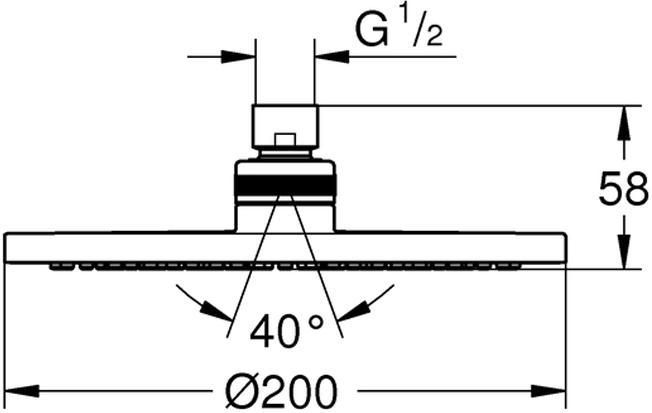 """душевая струя Rainшаровый шарнир +/- 20° вращающийсярезьбовое соединение 1/2""""может использоваться с проточным водонагревателемминимальное давление 1,0 бар"""