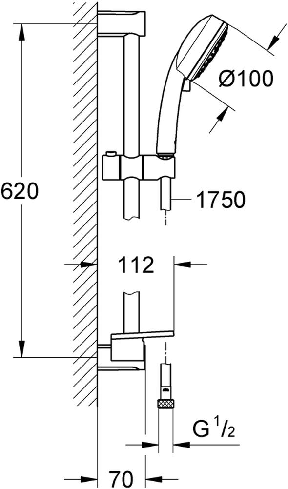"""Душевой гарнитур включает в себя: душевая штанга, 600 мм; душевой шланг 1750 мм 1/2"""" x 1/2""""; полочка; ограничитель расхода воды 9,5 л/мин. У душа превосходный поток воды. Хромированная поверхность с системой SpeedClean против известковых отложений.  Внутренний охлаждающий канал для продолжительного срока службы. Может использоваться с проточным водонагревателем. Минимальное давление 1,0 бар."""