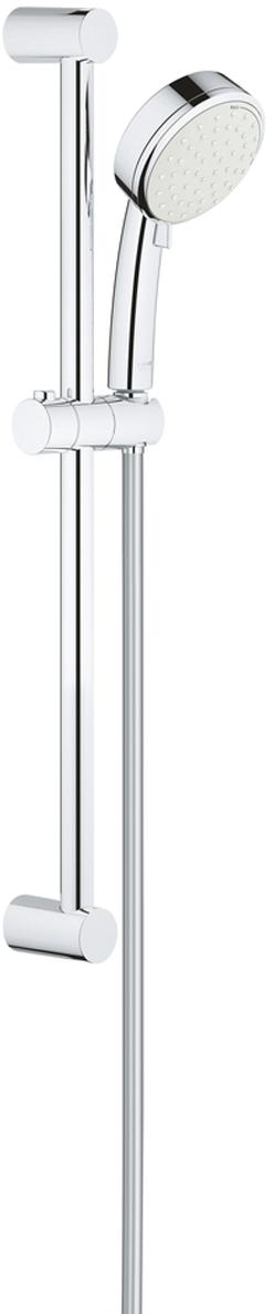 Душевой гарнитур GROHE Tempesta Cosmopolitan. 2757820E2757820Eвключает в себя:ручной душ Tempesta Cosmopolitan 100 (27 571 20E)душевая штанга, 600 мм (27 521)душевой шланг Relexaflex 1750 мм 1/2 x 1/2 (28 154)GROHE EcoJoy ограничитель расхода воды 5,7 л/мин.GROHE DreamSpray превосходный поток водыGROHE StarLight хромированная поверхностьс системой SpeedClean против известковых отложенийВнутренний охлаждающий канал для продолжительного срока службыможет использоваться с проточным водонагревателемминимальное давление 1,0 бар