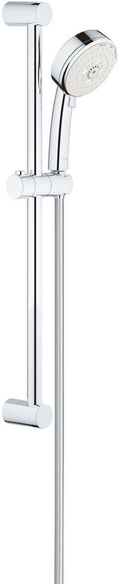 """Душевой гарнитур включает в себя: ручной душ; душевая штанга 600 мм; душевой шланг Relexaflex 1750 мм 1/2"""" x 1/2"""". Ограничитель расхода воды 9,5 л/мин. У душа превосходный поток воды. Хромированная поверхность с системой SpeedClean против известковых отложений. Внутренний охлаждающий канал для продолжительного срока службы. Может использоваться с проточным водонагревателем. Минимальное давление 1,0 бар."""