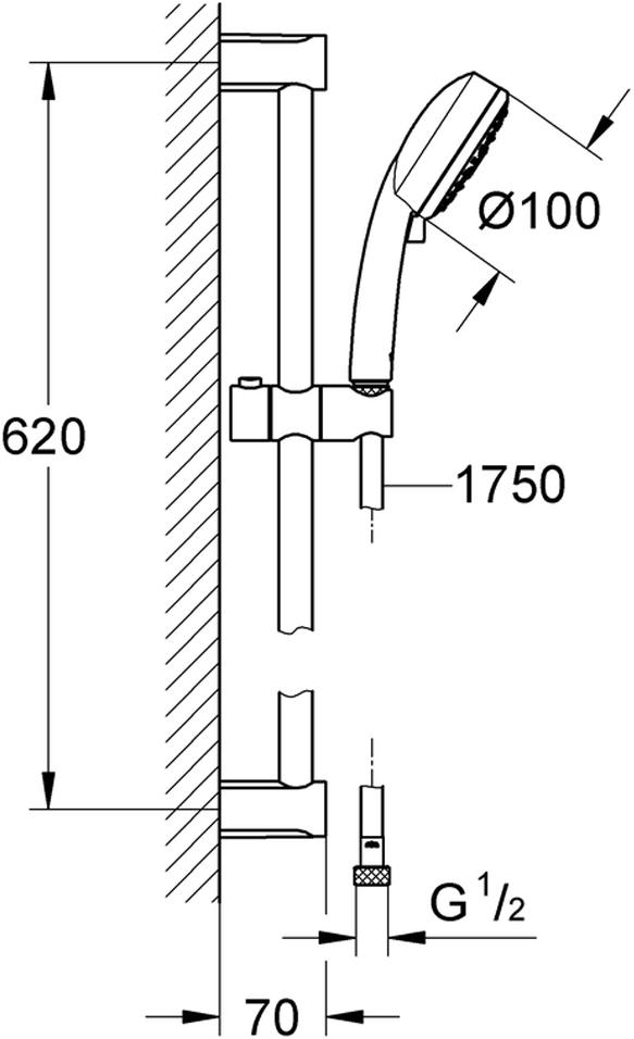 """Душевой гарнитур включает в себя: ручной душ New Tempesta Cosmopolitan 100; душевая штанга 600 мм; душевой шланг Relexaflex 1750 мм 1/2"""" x 1/2"""". Ограничитель расхода воды 9,5 л/мин. У душа превосходный поток воды. Хромированная поверхность с системой SpeedClean против известковых отложений. Внутренний охлаждающий канал для продолжительного срока службы. Может использоваться с проточным водонагревателем. Минимальное давление 1,0 бар."""