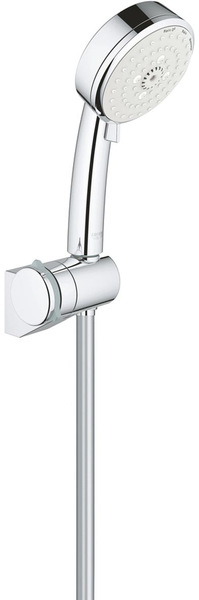 """Душевой набор включает в себя: ручной душ; регулируемый настенный держатель;душевой шланг Relexaflex 1750 мм 1/2"""" x 1/2"""". Ограничитель расхода воды 9,5 л/мин. У душевого набора превосходный поток воды. Хромированная поверхность с системой SpeedClean против известковых отложений. Внутренний охлаждающий канал для продолжительного срока службы. Может использоваться с проточным водонагревателем. Минимальное давление 1,0 бар."""
