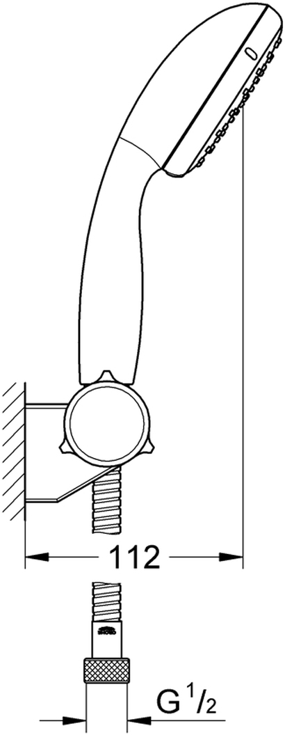 """Душевой набор включает в себя: ручной душ; регулируемый настенный держатель; душевой шланг Relexaflex 1750 мм 1/2"""" x 1/2"""". Ограничитель расхода воды 5,7 л/мин. У душевого набора превосходный поток воды. Хромированная поверхность с системой SpeedClean против известковых отложений. Внутренний охлаждающий канал для продолжительного срока службы. Есть силиконовое кольцо, предотвращающее повреждение поверхности при падении ручного душа. Может использоваться с проточным водонагревателем. Минимальное давление 1,0 бар."""