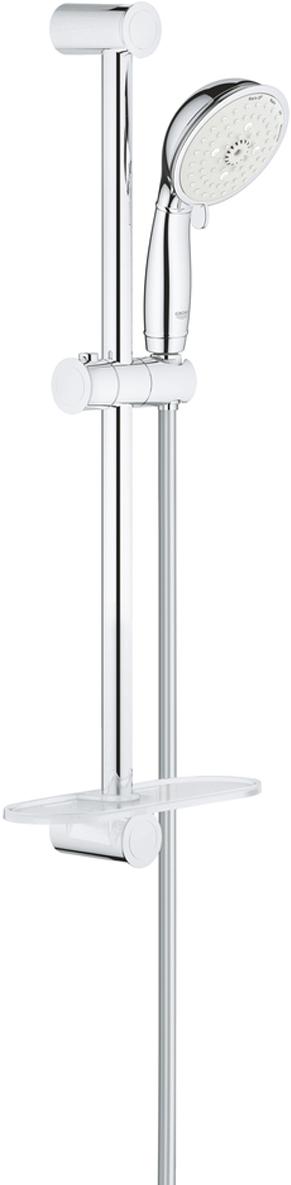 Душевой гарнитур GROHE New Tempesta Rustic. 2760900127609001включает в себя:ручной душ (27 608)душевая штанга, 600 мм (27 519)душевой шланг Relexaflex 1750 мм 1/2 x 1/2 (28 154)Полочка GROHE EasyReach (27 596)GROHE EcoJoy ограничитель расхода воды 9,5 л/минGROHE DreamSpray превосходный поток водыGROHE StarLight хромированная поверхностьс системой SpeedClean против известковых отложенийВнутренний охлаждающий канал для продолжительного срока службыможет использоваться с проточным водонагревателем