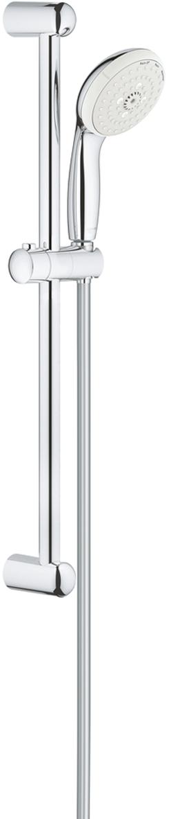 """Душевой гарнитур включает в себя: ручной душ; душевая штанга 600 мм; душевой шланг Relexaflex 1750 мм 1/2"""" x 1/2"""". Ограничитель расхода воды 9,5 л/мин. У душа превосходный поток воды. Хромированная поверхность с системой SpeedClean против известковых отложений. Внутренний охлаждающий канал для продолжительного срока службы. Есть силиконовое кольцо, предотвращающее повреждение поверхности при падении ручного душа. Может использоваться с проточным водонагревателем. Минимальное давление 1,0 бар."""