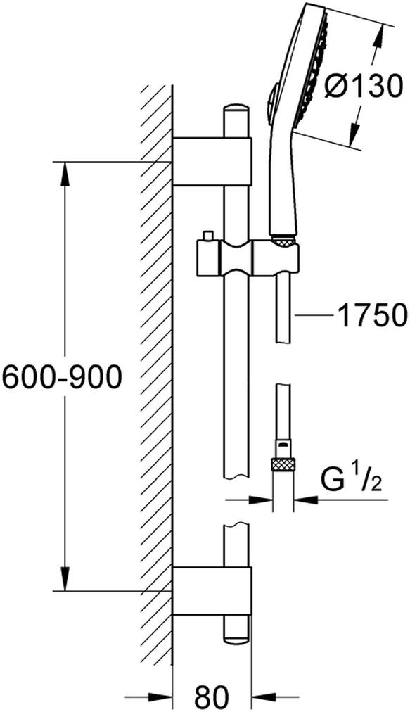включает в себя:ручной душ Power&Soul Cosmopolitan 130 (27 664 000)душевая штанга, 900 мм (27 785 000)с металлическими настенными креплениямидушевой шланг 1750 мм (28 388 000)GROHE EcoJoy ограничитель расхода воды 9,5 л/минGROHE DreamSpray превосходный поток водыGROHE StarLight хромированная поверхностьGROHE QuickFix Plus (регулируемое расстояние между настенными креплениями штанги позволяет использовать для монтажа уже имеющиеся отверстия в стене)с системой SpeedClean против известковых отложенийВнутренний охлаждающий канал для продолжительного срока службыTwistfree против перекручивания шлангаможет использоваться с проточным водонагревателемминимальное давление 1,0 бар