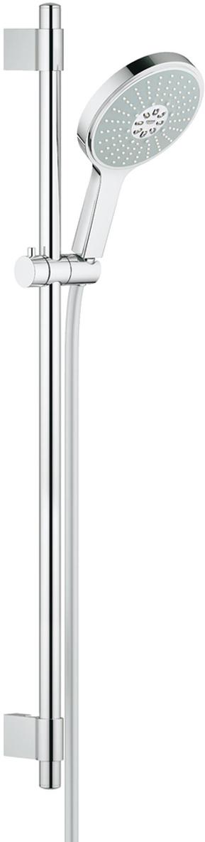 Душевой гарнитур включает в себя: ручной душ Power&Soul Cosmopolitan 160; душевая штанга 900 мм с металлическими настенными креплениями; душевой шланг 1750 мм. Ограничитель расхода воды 9,5 л/мин. У душа превосходный поток воды. Хромированная поверхность. Регулируемое расстояние между настенными креплениями штанги позволяет использовать для монтажа уже имеющиеся отверстия в стене. Система SpeedClean против известковых отложений. Внутренний охлаждающий канал для продолжительного срока службы. Twistfree против перекручивания шланга. Может использоваться с проточным водонагревателем. Минимальное давление 1,0 бар.