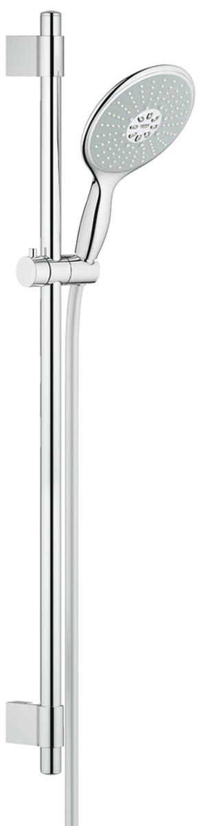 Душевой гарнитур включает в себя: ручной душ Power&Soul 160; душевая штанга 900 мм с металлическими настенными креплениями; душевой шланг 1750 мм.  Ограничитель расхода воды 9,5 л/мин. У душа превосходный поток воды. Хромированная поверхность. Регулируемое расстояние между настенными креплениями штанги позволяет использовать для монтажа уже имеющиеся отверстия в стене. Система SpeedClean против известковых отложений. Внутренний охлаждающий канал для продолжительного срока службы. Twistfree против перекручивания шланга. Может использоваться с проточным водонагревателем. Минимальное давление 1,0 бар.