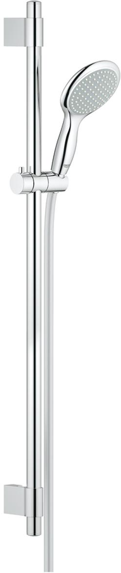 Душевой гарнитур включает в себя: ручной душ Power&Soul 115; душевая штанга 900 мм с металлическими настенными креплениями; душевой шланг 1750 мм. У душа превосходный поток воды. Хромированная поверхность. Регулируемое расстояние между настенными креплениями штанги позволяет использовать для монтажа уже имеющиеся отверстия в стене. Система SpeedClean против известковых отложений. Twistfree против перекручивания шланга. Может использоваться с проточным водонагревателем.