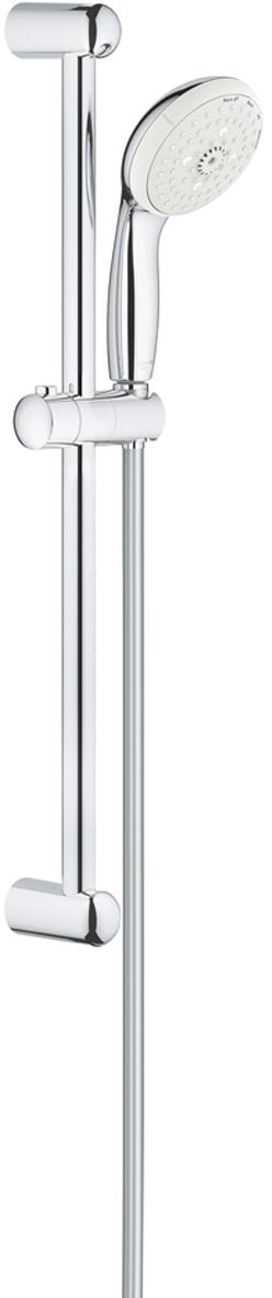 Душевой гарнитур GROHE New Tempesta. 2779500127795001Душевой гарнитур включает в себя: ручной душ; душевая штанга 600 мм;душевой шланг Relexaflex 1750 мм 1/2 x 1/2. У душа превосходный поток воды. Хромированная поверхность с системой SpeedClean против известковых отложений. Внутренний охлаждающий канал для продолжительного срока службы. Есть силиконовое кольцо, предотвращающее повреждение поверхности при падении ручного душа. Может использоваться с проточным водонагревателем.