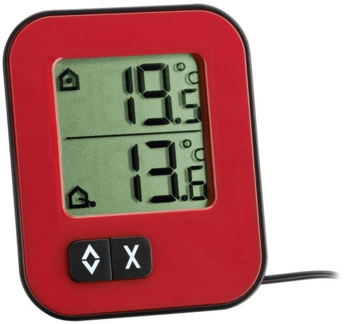 TFA 30.1043.05 термометр30.1043.05TFA Moxx 30.1043.02 Термометр электронный красный Особенности: Большой ЖК-дисплей Измерение температуры воздуха в помещении и на улице