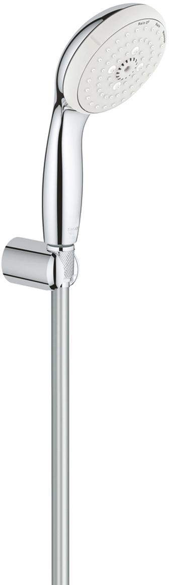 """включает в себя:ручной душ (28 261)настенный держатель ручного душа (28 605)без регулировкидушевой шланг Relexaflex 1750 мм 1/2"""" x 1/2"""" (28 154)GROHE DreamSpray превосходный поток водыGROHE StarLight хромированная поверхностьс системой SpeedClean против известковых отложенийВнутренний охлаждающий канал для продолжительного срока службыShockProof силиконовое кольцо, предотвращающее повреждение поверхности при падении ручного душаможет использоваться с проточным водонагревателемминимальное давление 1,0 бар"""