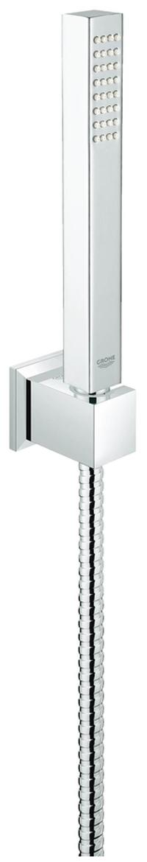 Душевой набор включает в себя: ручной душ, металл; настенный держатель,  металлический душевой шланг 1500 мм. Ограничитель расхода воды 9,5 л/мин. У душа превосходный поток воды. Хромированная поверхность с системой SpeedClean против известковых отложений. Внутренний охлаждающий канал для продолжительного срока службы. Twistfree против перекручивания шланга. Может использоваться с проточным водонагревателем. Минимальное давление 1,0 бар.