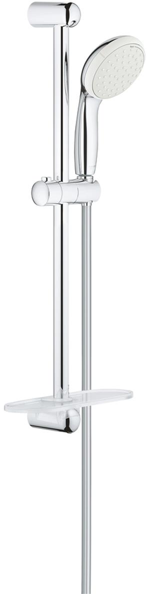 """Душевой гарнитур включает в себя: ручной душ Tempesta 100; душевая штанга 600 мм; душевой шланг Relexaflex 1750 мм 1/2"""" x 1/2""""; полочка. У душа превосходный поток воды. Хромированная поверхность с системой SpeedClean против известковых отложений. Внутренний охлаждающий канал для продолжительного срока службы. Есть силиконовое кольцо, предотвращающее повреждение поверхности при падении ручного душа. Может использоваться с проточным водонагревателем."""