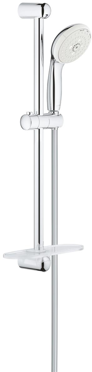 Душевой гарнитур GROHE Tempesta New, с полочкой. 2792700127927001Душевой гарнитур включает в себя: ручной душ; душевая штанга 600 мм; душевой шланг Relexaflex 1750 мм 1/2 x 1/2; полочка. У душа превосходный поток воды. Хромированная поверхность с системой SpeedClean против известковых отложений. Внутренний охлаждающий канал для продолжительного срока службы. Есть силиконовое кольцо, предотвращающее повреждение поверхности при падении ручного душа. Может использоваться с проточным водонагревателем.