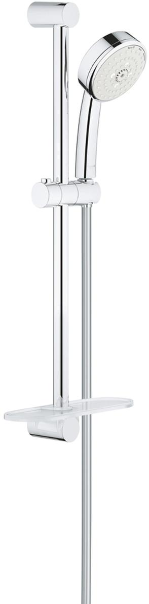 Душевой гарнитур GROHE New Tempesta Cosmopolitan, с полочкой. 2792900227929002Душевой гарнитур включает в себя: ручной душ; душевая штанга 600 мм; душевой шланг Relexaflex 1750 мм 1/2 x 1/2; полочка. У душа превосходный поток воды. Хромированная поверхность с системой SpeedClean против известковых отложений. Внутренний охлаждающий канал для продолжительного срока службы. Может использоваться с проточным водонагревателем. Минимальное давление 1,0 бар.