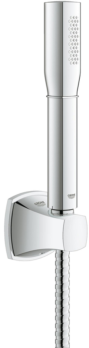 Душевой набор GROHE Rainshower Grandera. 2799300027993000Душевой набор включает в себя: ручной душ Stick; настенный держатель ручного душа; душевой шланг Rotaflex 1500 мм. Ограничитель расхода воды 7,6 л/мин. У душевого набора превосходный поток воды. Внутренний охлаждающий канал для продолжительного срока службы. Полностью исключается вероятность ожога о внешнюю поверхность смесителя. Хромированная поверхность с системой SpeedClean против известковых отложений. Может использоваться с проточным водонагревателем. Минимальное давление 1,0 бар.