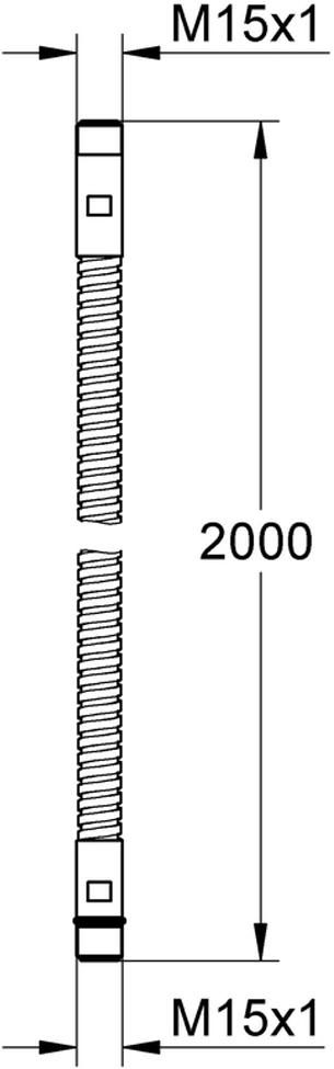 Душевой шланг длиной 2000 мм. Способ монтажа M15 x M15. У шланга хромированная поверхность.
