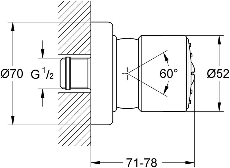 Душ боковой с нормальной струей.  В комплекте шаровой шарнир. У душа хромированная поверхность. Система SpeedClean против известковых отложений. Подходит для преднастраиваемого напора (расхода) воды. Расход воды устанавливается от 5 до 11 л/мин.Минимальный объем потока 4,5 л/мин.
