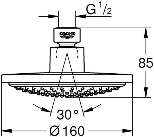 """Rainшаровый шарнир +/- 15° вращающийсярезьбовое соединение 1/2""""GROHE EcoJoy ограничитель расхода воды 9,5 л/минGROHE DreamSpray превосходный поток водыGROHE StarLight хромированная поверхностьс системой SpeedClean против известковых отложенийминимальное давление 1,0 бар"""