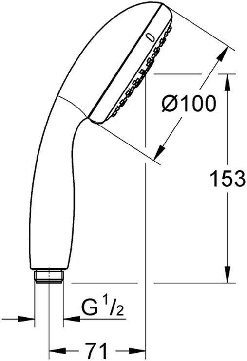 У душа превосходный поток воды. Хромированная поверхность с системой SpeedClean против известковых отложений.  Внутренний охлаждающий канал для продолжительного срока службы.  Есть силиконовое кольцо, предотвращающее повреждение поверхности при падении ручного душа.  Универсальное крепление, подходящее к любому стандартному шлангу. Может использоваться с проточным водонагревателем. Минимальное давление 1,0 бар.