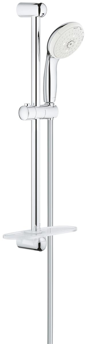 """Душевой гарнитур включает в себя: ручной душ; душевая штанга  600 мм; душевой шланг Relexaflex 1750 мм 1/2"""" x 1/2""""; полочка. У душа превосходный поток воды. Хромированная поверхность с системой SpeedClean против известковых отложений. Внутренний охлаждающий канал для продолжительного срока службы. Есть силиконовое кольцо, предотвращающее повреждение поверхности при падении ручного душа. Может использоваться с проточным водонагревателем."""