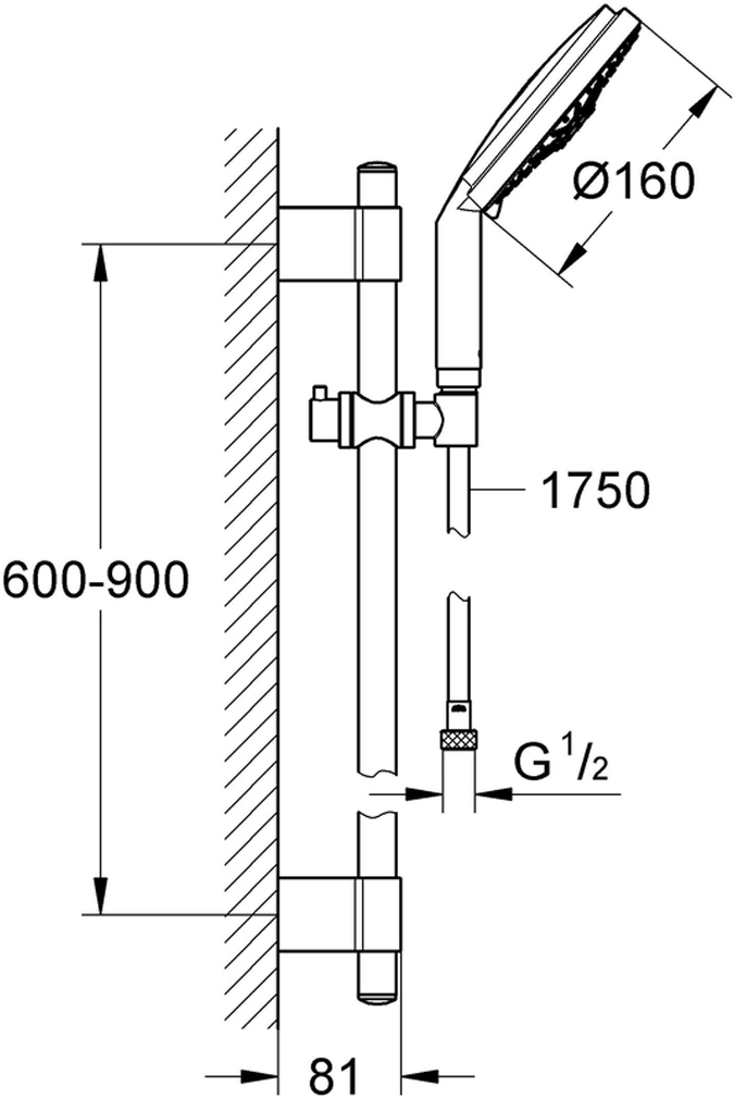Душевой гарнитур включает в себя: ручной душ Cosmopolitan; душевая штанга  900 мм с металлическими настенными креплениями; душевой шланг 1750 мм. Хромированная поверхность. Регулируемое расстояние между настенными креплениями штанги позволяет использовать для монтажа уже имеющиеся отверстия в стене. Внутренний охлаждающий канал для продолжительного срока службы.Twistfree против перекручивания шланга.