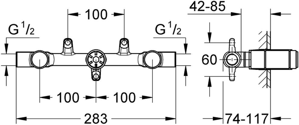 для смесителя для раковины на 3 отверстиядля скрытого монтажабез комплекта верхней монтажной частиглубина монтажа 43 - 85 ммDR-латуньшаблон для монтажа
