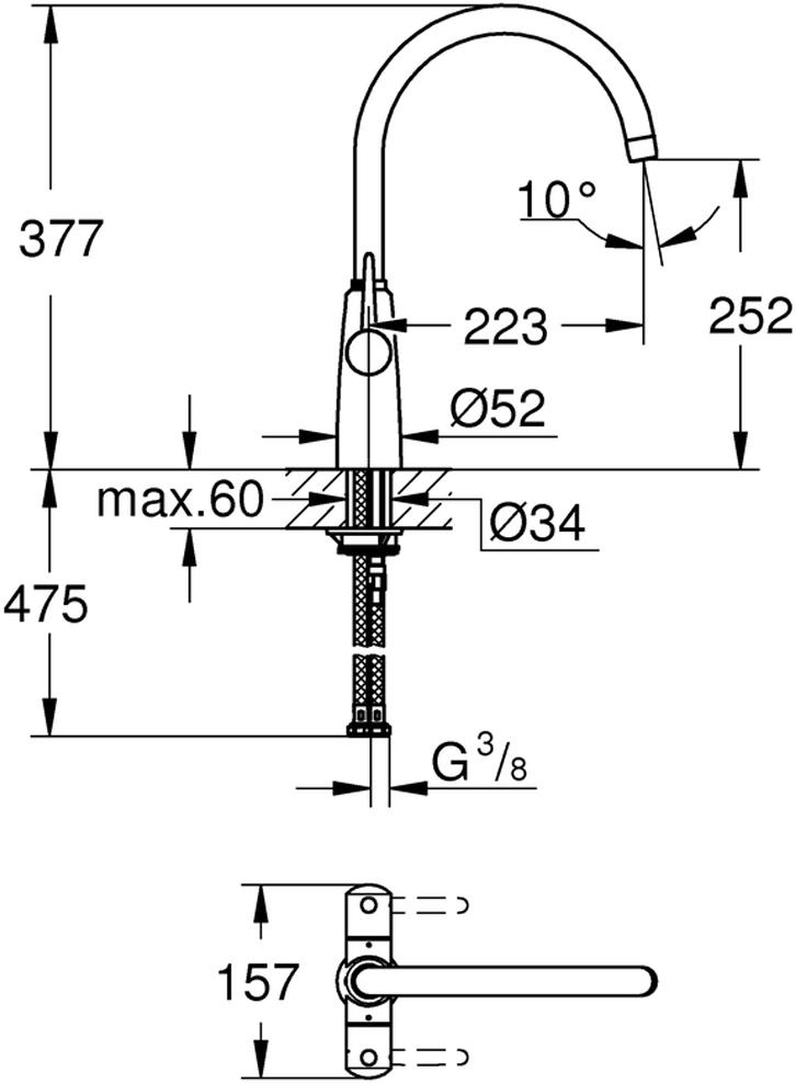 """Смеситель для мойки """"Ambi"""". Монтаж на одно отверстие. У смесителя хромированная поверхность, керамические вентили 1/2"""", 90°. Есть аэратор, поворотный трубкообразный излив. Выбор радиуса поворота: 0° / 150° / 360°. Смеситель с длинными рукоятками. Рукоятка открывается вперед - исключает попадание брызг на стену. Гибкая подводка. Система быстрого монтажа. Минимальное рекомендованное давление 0.4 бар."""