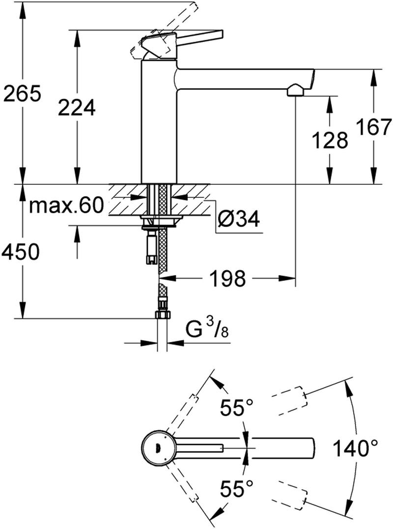 """Смеситель для мойки """"BauFlow"""" со средним изливом. Монтаж на одно отверстие. У смесителя хромированная поверхность, керамический картридж 35 мм. Аэратор, регулировка расхода воды, поворотный литой излив. Область поворота 140°, гибкая подводка, система быстрого монтажа. Минимальное давление 1,0 бар."""