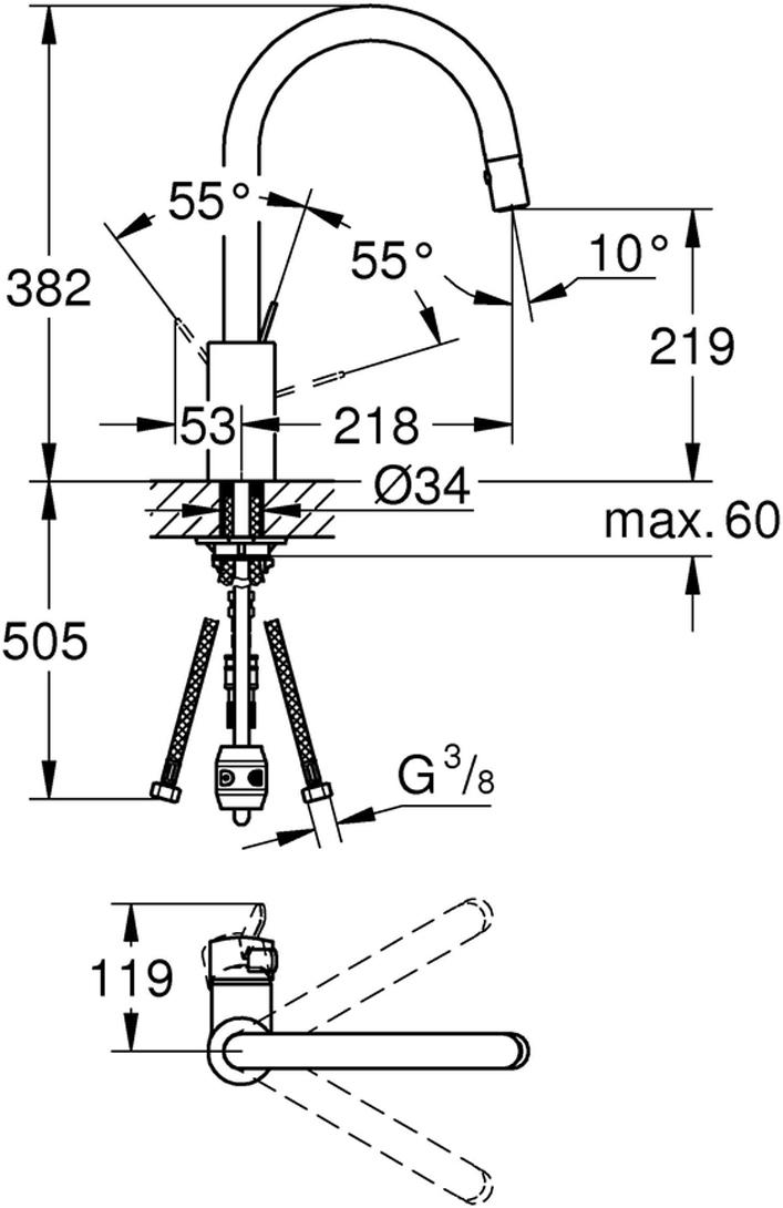 """Смеситель для мойки """"Eurosmart Cosmopolitan"""", с выдвижным аэратором и высоким изливом. Монтаж на одно отверстие. У смесителя хромированная поверхность, керамический картридж 35 мм. Выдвижной излив с аэратором. Автоматический переключатель: аэратор/ душевая струя. Автоматическое возвратное переключение на аэратор после выключения. Регулировка расхода воды. Поворотный трубкообразный излив. Радиус поворота 360°. Смеситель с защитой от обратного потока.Гибкая подводка. Система быстрого монтажа."""