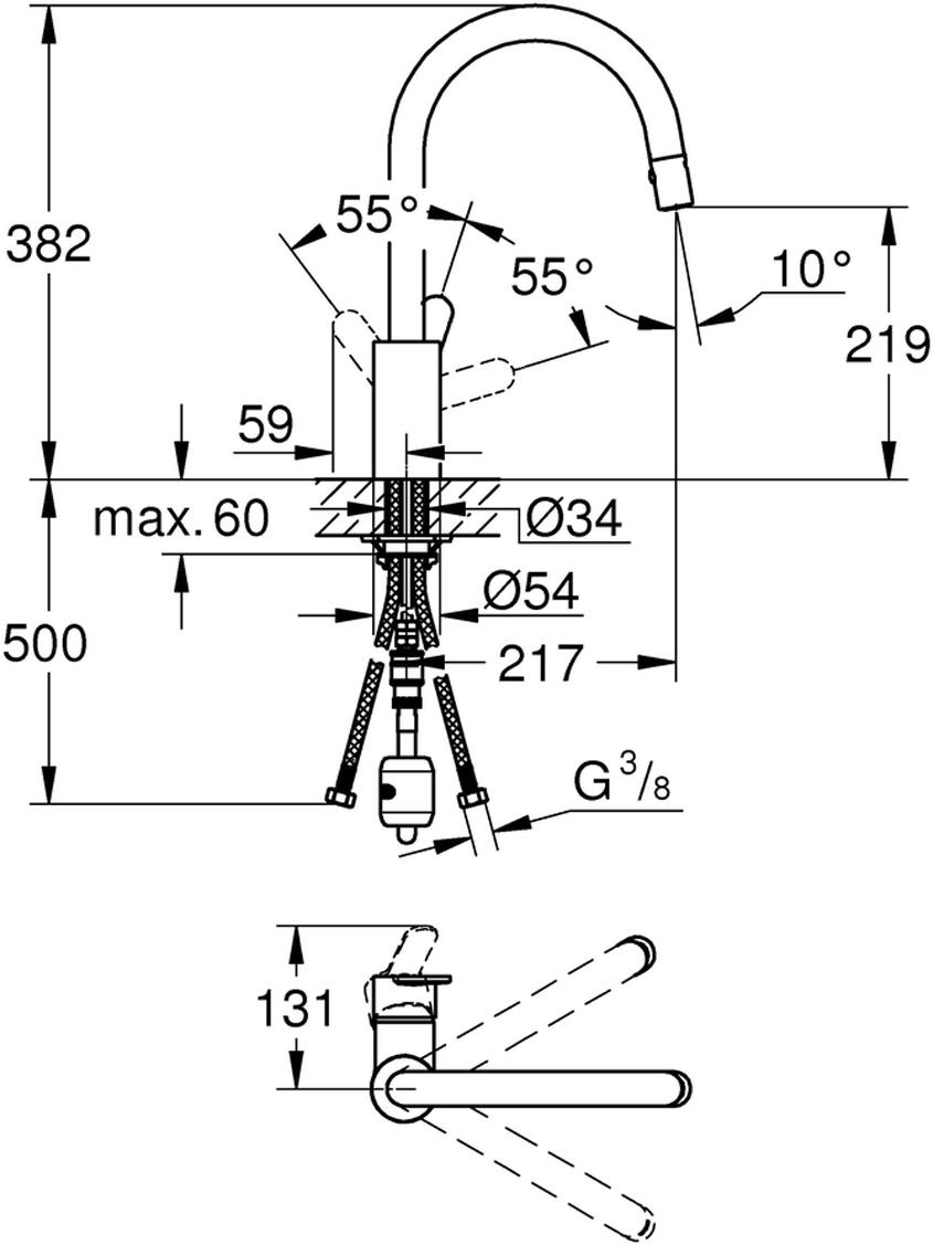монтаж на одно отверстиевысокий изливGROHE StarLight хромированная поверхностьGROHE SilkMove керамический картридж 35 ммвыдвижной излив с аэраторомавтоматический переключательаэратор/SpeedClean душевая струяавтоматическое возвратное переключениена аэратор после выключениярегулировка расхода водыповоротный трубкообразный изливрадиус поворота 360°с защитой от обратного потокагибкая подводкасистема быстрого монтажа