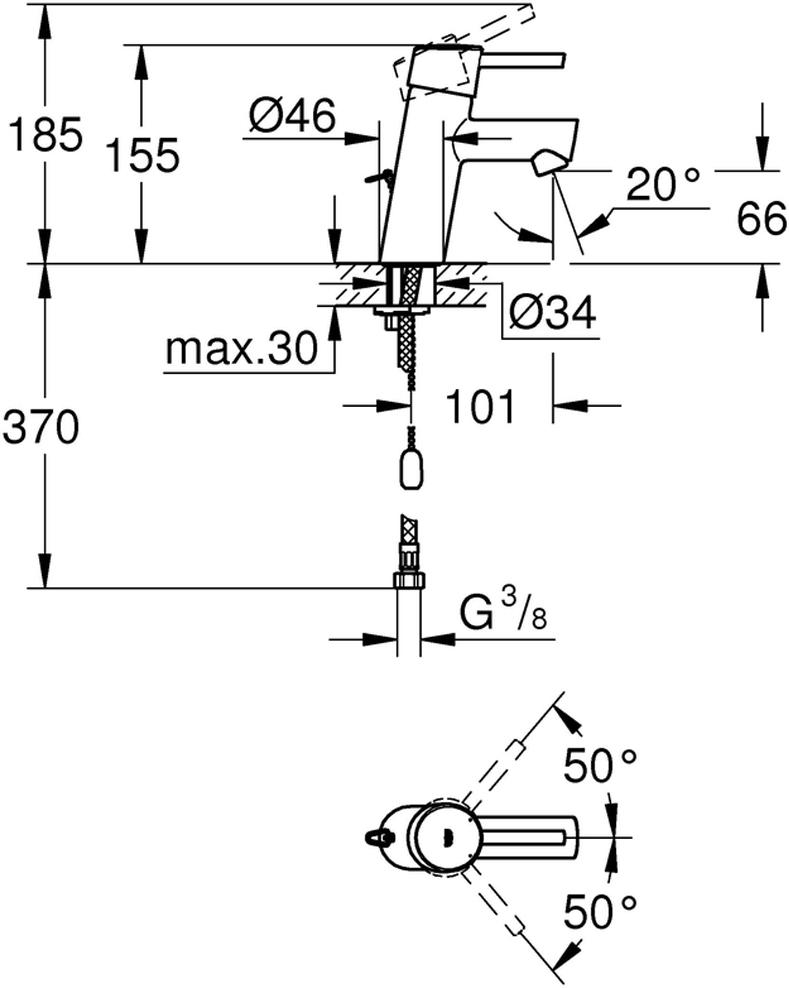 монтаж на одно отверстиеметаллический рычагGROHE SilkMove керамический картридж 28 ммс ограничителем температурыGROHE StarLight хромированная поверхностьGROHE QuickFix быстрая монтажная системааэраторцепочкагибкая подводкакласс шума I по DIN 4109